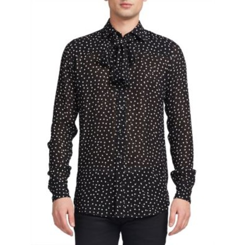 SAINT LAURENT Tie-Front Printed Shirt