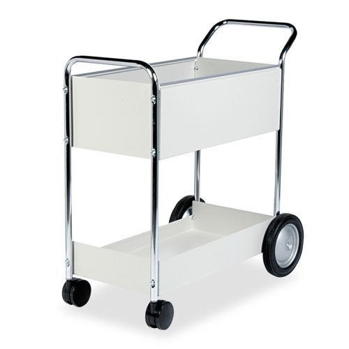 Fellowes 40922 Steel Mail Cart, 150-Folder Capacity, 20w x 40-1/2d x 39h, Dove Gray