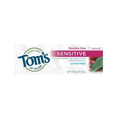 Tom's of Maine Fluoride Free Natural Sensitive Toothpaste, Wintermint, 4 Ounce, Pack of 6 [Wintermint]