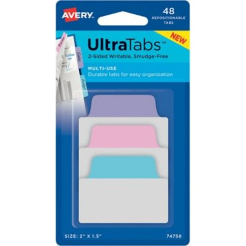 Avery Multiuse Ultra Tabs, Pastels (Blue, Pink, Purple), 2