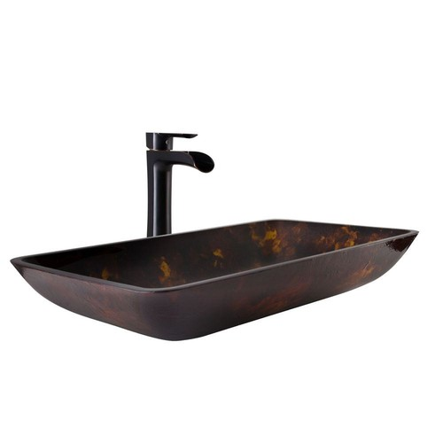 VIGO Vessel Sink in Brown and Gold Fusion and Niko Faucet Set in Antique Rubbed Bronze