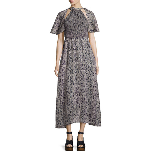ROSIE ASSOULIN Baroque-Print Cold-Shoulder Maxi Dress, Navy