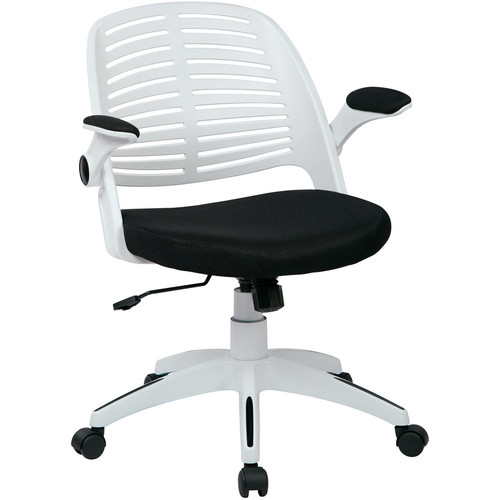 Ave Six Tyler Office Chair, White Finish with Black Fabric