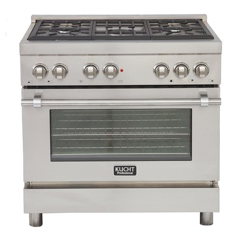 Kucht Professional 36 in. 5.2 cu. ft. Dual Fuel Range with Sealed Burners and Convection Oven in Stainless Steel