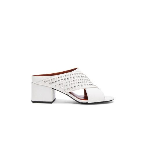 3.1 phillip lim Crisscross Leather Cube Open Toe Slip Ons in White