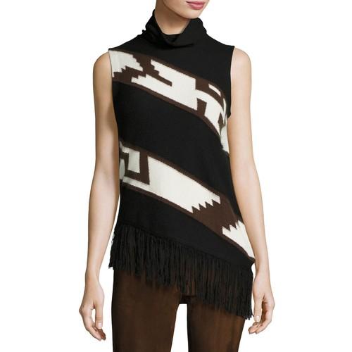 RALPH LAUREN COLLECTION Southwester Intarsia Turtleneck Sweater, Black/Brown