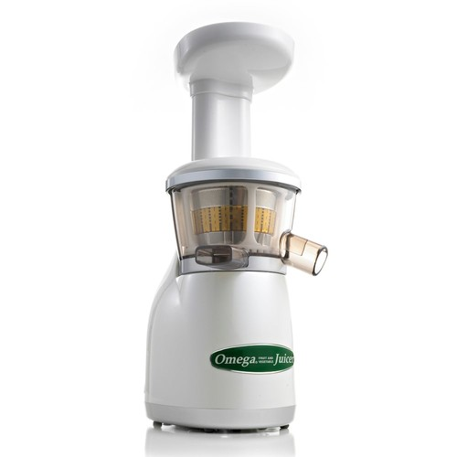 Omega VRT350W Heavy Duty Dual-Stage Vertical Single Auger Low Speed Juicer, White