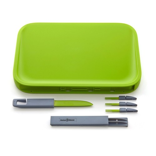 Home and Above Modern Non-Slip Cutting Board with Hidden Compartments for Included Knife and Mini Fork Set, PBA Free Chopping Board, Green [Knife + Forks]