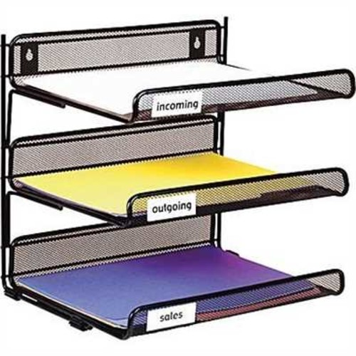 Staples Black Wire Mesh 3-Tier Desk Shelf