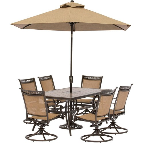 Hanover Fontana 7-Piece Aluminum Rectangular Outdoor Dining Set with Swivels, Cast-Top Table, Umbrella and Base