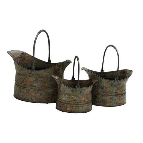 Set of 3 Rustic Metal 11-inch, 14-inch, 17-inch Planters