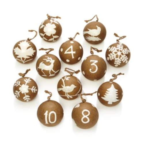 12 Days of Christmas Paper Mach Ball Ornaments