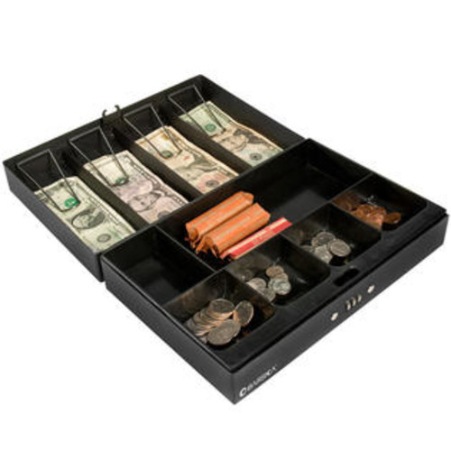 Barska CB11794 17 in. Cash Box 4 Bill Holder and 6 Compartment Tray with Combination Lock