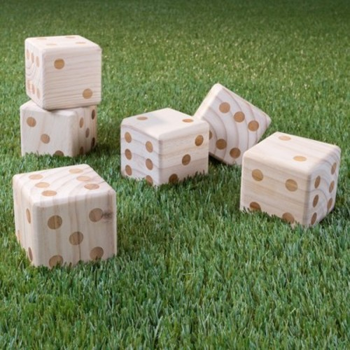Hey! Play! Giant Wooden Yard Dice With Bag - 7pc