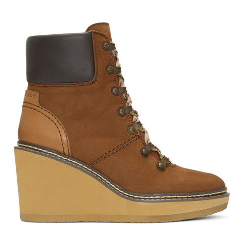 SEE BY CHLOÉ Brown Nubuck Eileen Wedge Boots
