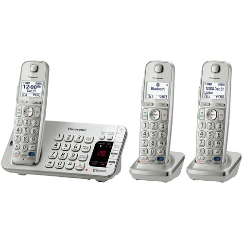 Panasonic KX-TGE273S Link2Cell Bluetooth Enabled Phone w/Answer 3 Handset + Keypad on Base