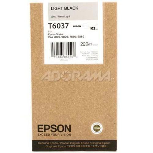 Epson T603700 UltraChrome 220ml Printer Ink, for Stylus Pro 7880, Light Black T603700