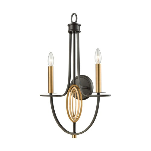 Titan Lighting Dione 2-Light Oil Rubbed Bronze with Brushed Antique Brass Accents Sconce