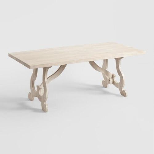 Whitewashed Wood Harp Leg Louisa Dining Table