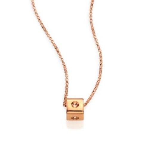Pois Moi 18K Rose Gold Mini Cube Pendant Necklace