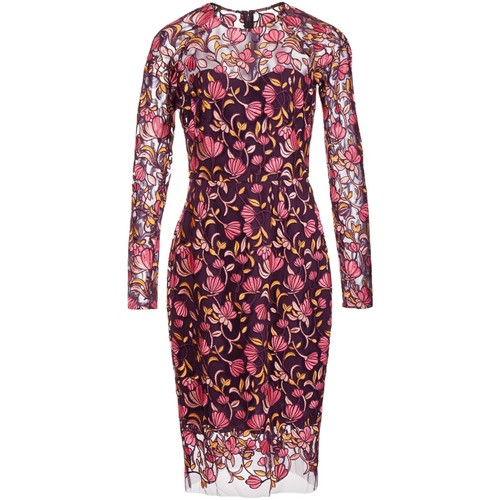 LELA ROSE Sheer Floral Embroidery Dress