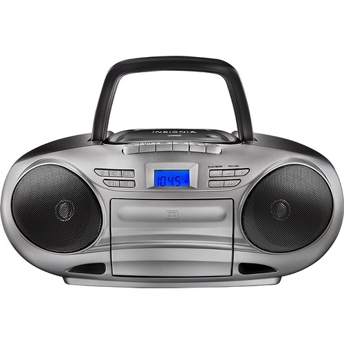 Insignia - CD/Cassette Boombox with AM/FM Radio - Black/Gray