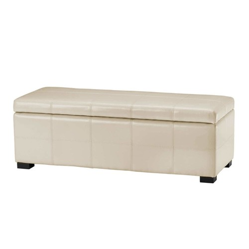 Safavieh Hudson Collection Williamsburg Cream Leather Large Storage Bench