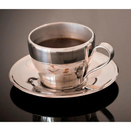 Visol Cappuccino 8 oz.. Stainless Steel Double Walled Cup with Saucer