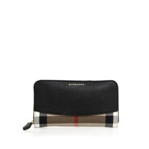 BURBERRY Elmore Leather & House Check Zip Wallet