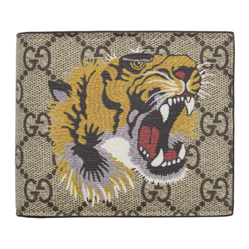 GUCCI Beige Gg Supreme Tiger Wallet
