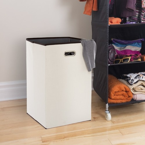 Lavish Home Folding 23 Inch Canvas Laundry Hamper - Beige