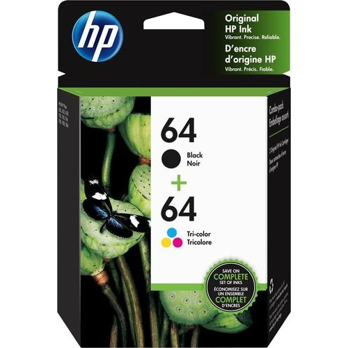 HP - 64 2-Pack Standard Capacity - Black/Tri-Color Ink Cartridges - Black/ Multicolor