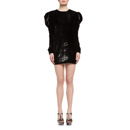 SAINT LAURENT Ruched Velvet Puff-Sleeve Shift Dress, Black (Noir)
