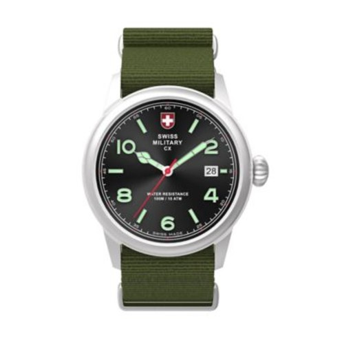Swiss Military by Charmex Vintage Men's 40mm Stainless Steel Watch with Black Dial/Green Nylon Strap