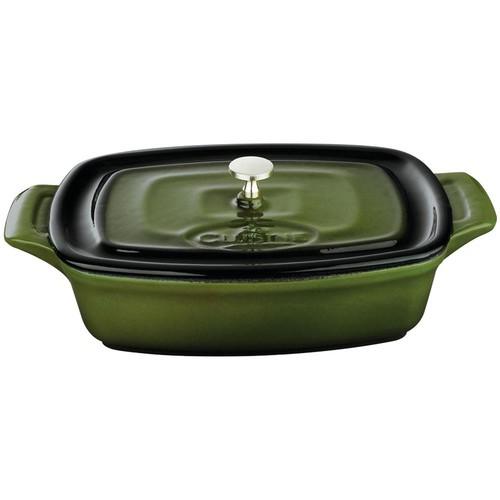 La Cuisine 7 in. Cast Iron Mini Rectangular Casserole in Green