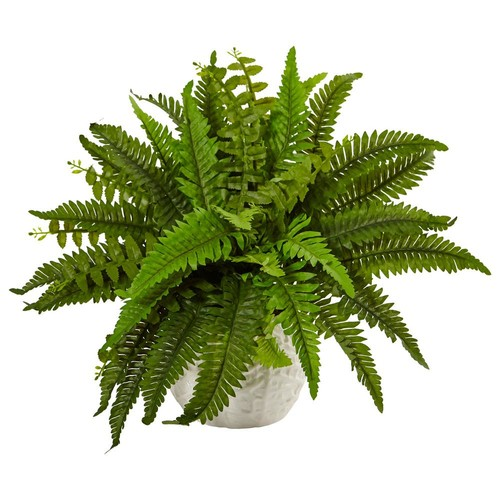 Nearly Natural Indoor Boston Artificial Fern in White Planter