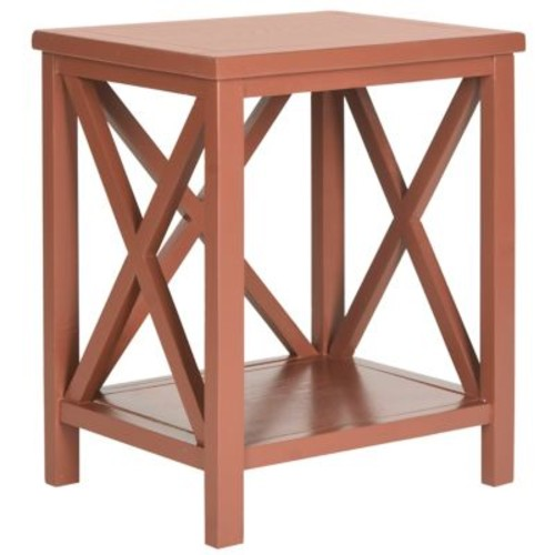 The Safavieh Candence Cross Back End Table in Brown