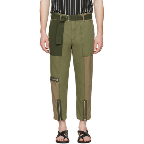 Green Patchwork Flight Trousers
