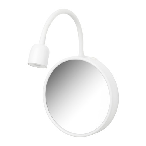 BLVIK LED wall lamp with mirror, battery operated white