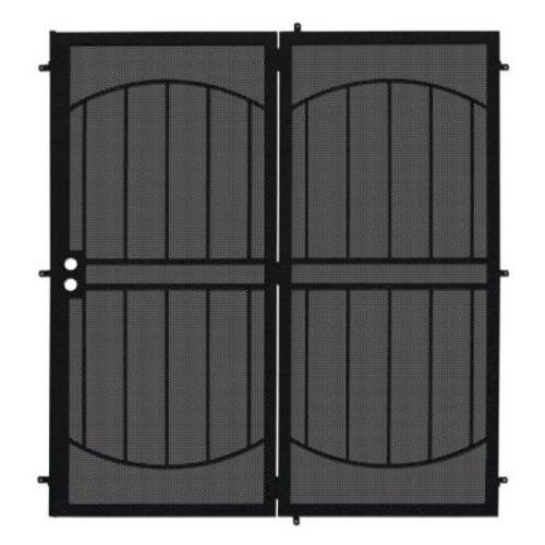 Unique Home Designs 72 in. x 80 in. Arcada Black Projection Mount Outswing Steel Patio Security Door with Expanded Metal Screen