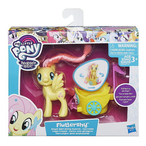 My Little Pony Friendship is Magic Fluttershy with Royal Spin-Along Chariot Doll- Light Pink