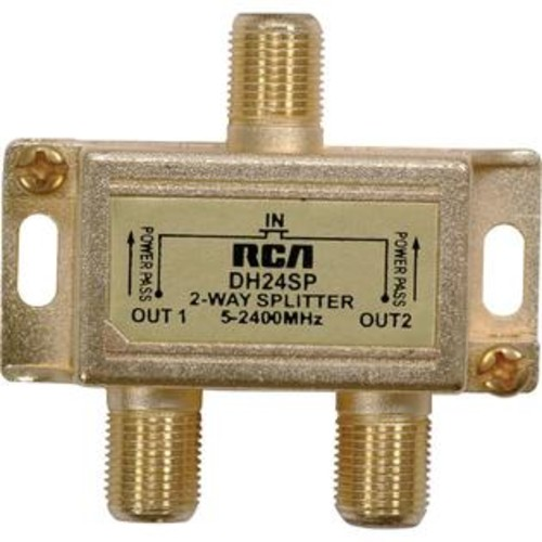 RCA DH24SPR 2.4 GHz Digital Plus 2-Way Splitter, Splits 75_ coaxial signal into separate signals, 5MHz - 2.4GHz for cable & s