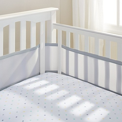 BreathableBaby Mix & Match Breathable Mesh Crib Liner in Grey Mist