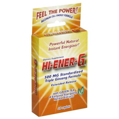 Hi Ener G Triple Ginseng Formula, 500 mg Standardized, Caplets, 20 caplets