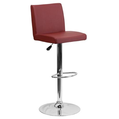 Flash Furniture Adjustable Height Burgundy Cushioned Bar Stool