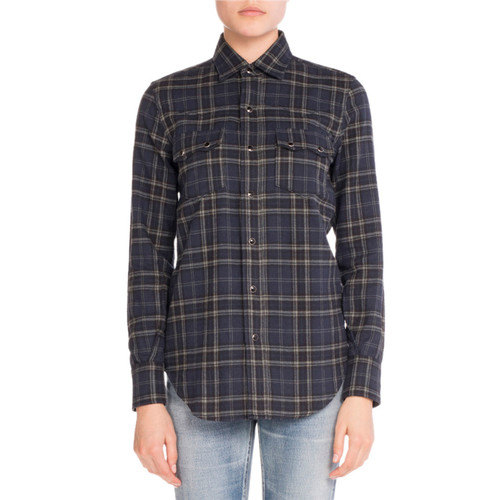 SAINT LAURENT Plaid Flannel Button-Down Shirt, Blue/Gray
