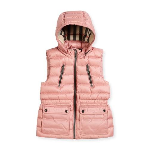 BURBERRY Maggie Down Gilet W/Detachable Hood, Size 4-14