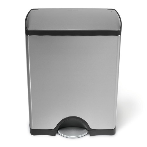 simplehuman 50-Liter Fingerprint-Proof Brushed Stainless Steel Rectangular Step-On Trash Can