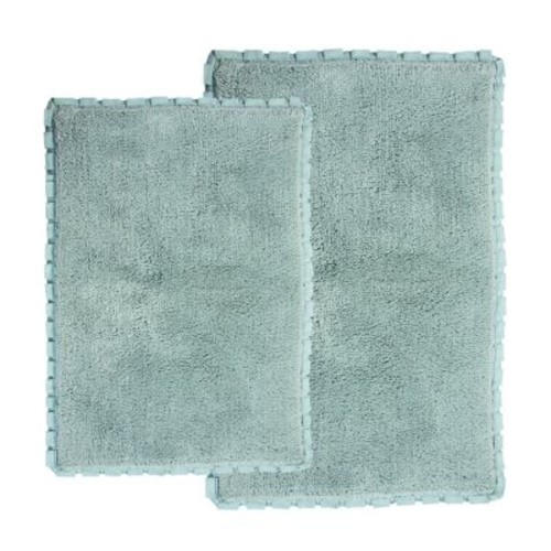 Chesapeake Merchandising Verona Pleat Trim Spa 2 ft. x 3 ft. 4 in. 2-Piece Bath Rug Set