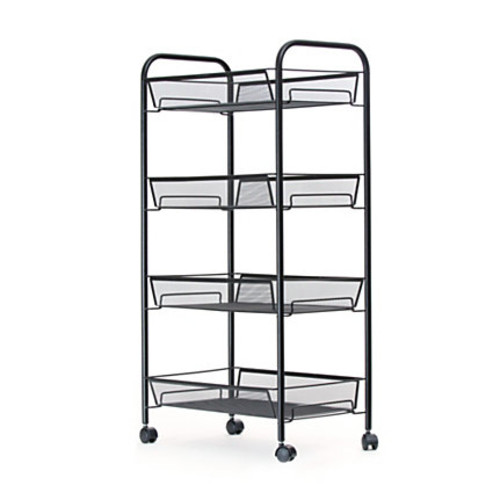 Mind Reader Roll Metal Mesh Rolling Utility Cart, 4-Shelf, Black